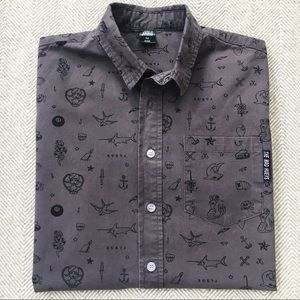 THE MAD HUEYS Vintage Tattoo Button Down Shirt
